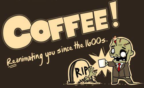 zombie with coffee